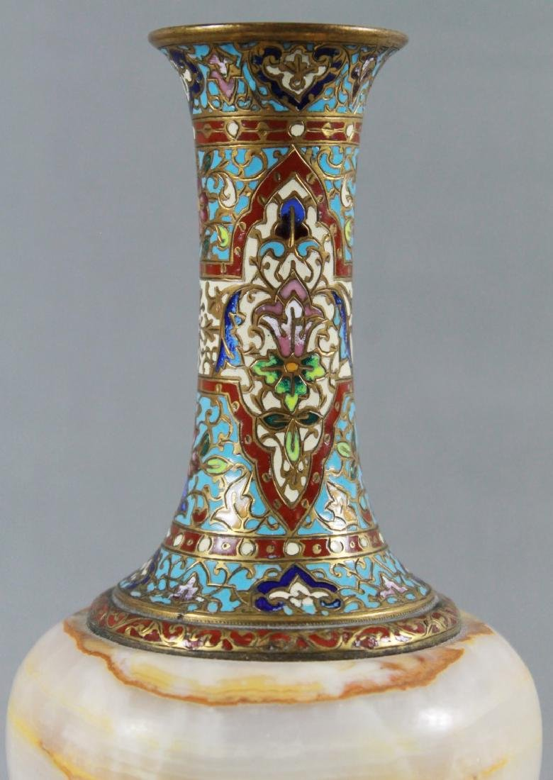 FRENCH CHAMPLEVE ENAMEL AND MARBLE VASE - 2