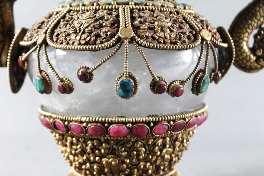 ROCK CRYSTAL TEAPOT ENCRUSTED WITH EMERALDS AND RUBIES - 4