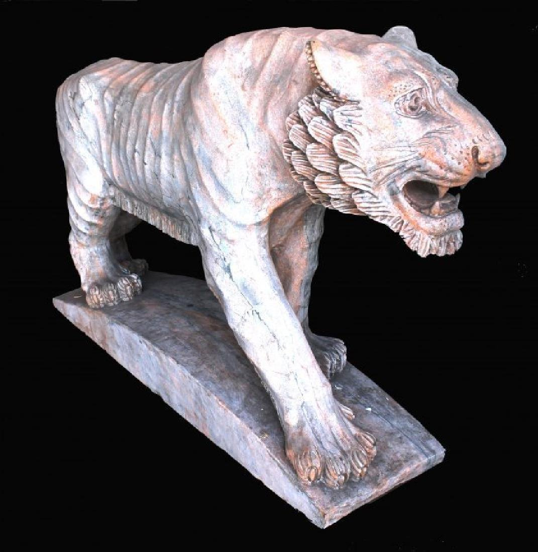 MONUMENTAL RED MARBLE SCULPTURE OF TIGER - 2