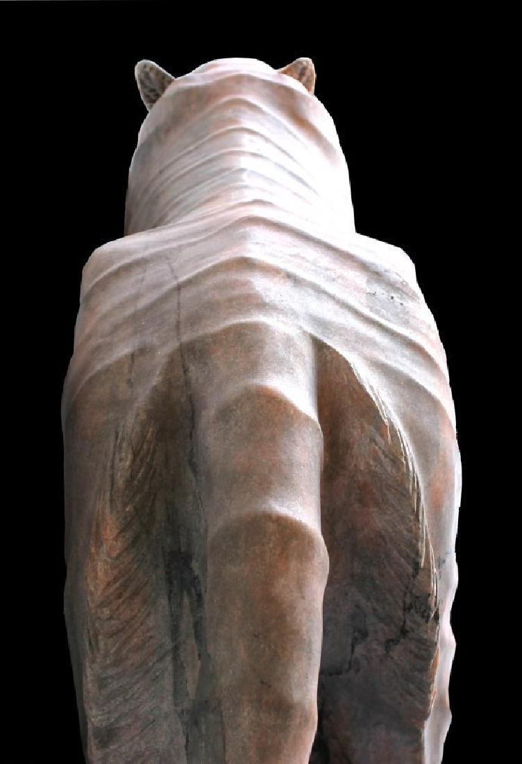 MONUMENTAL RED MARBLE SCULPTURE OF TIGER - 3