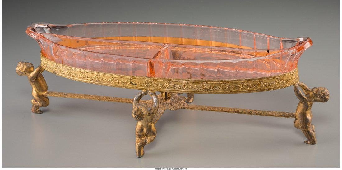 A Continental Etched Glass and Gilt Metal Serving Dish, - 2