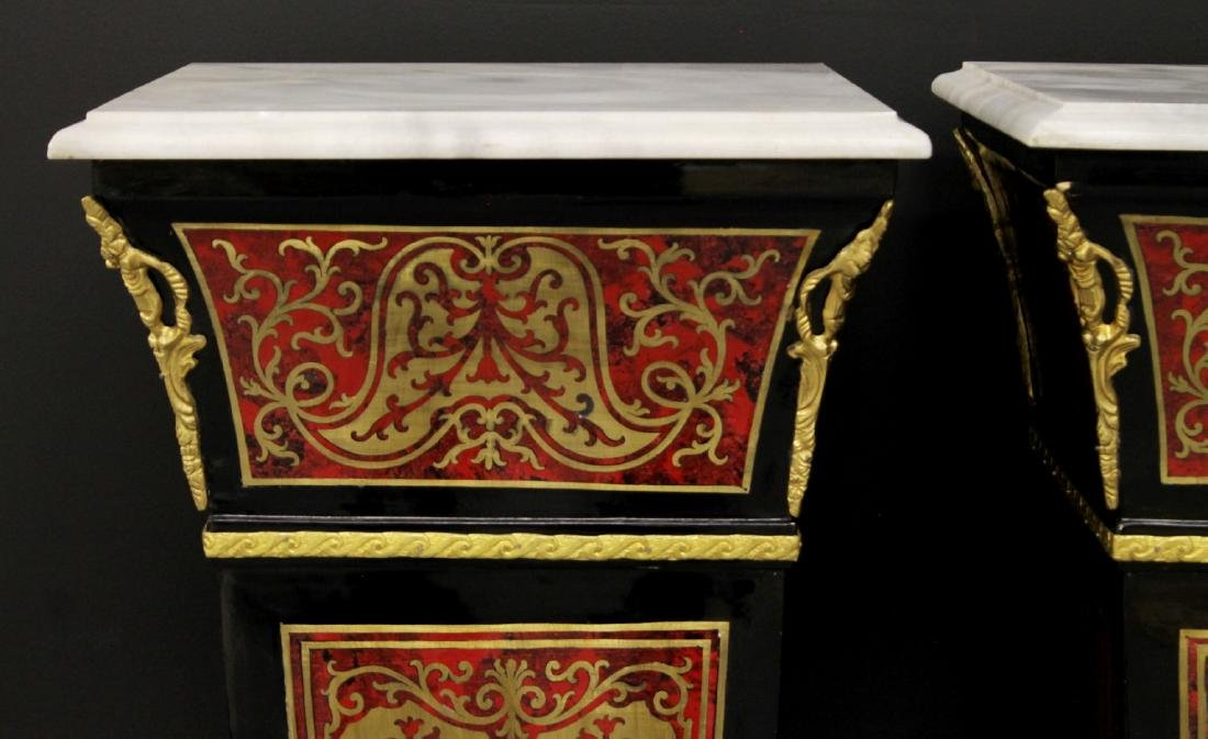 PAIR OF BOULLE STYLE PEDESTALS WITH BRONZE MOUNTS - 2