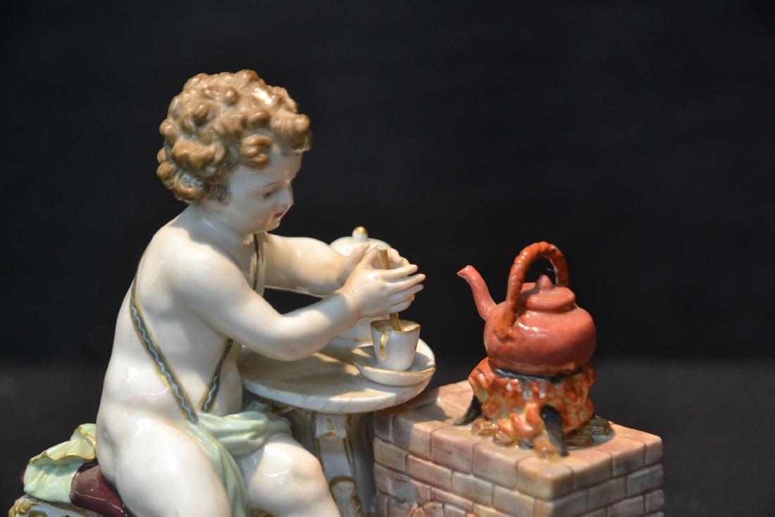 MEISSEN PUTTI WITH TEA POT ON STOVE - 2