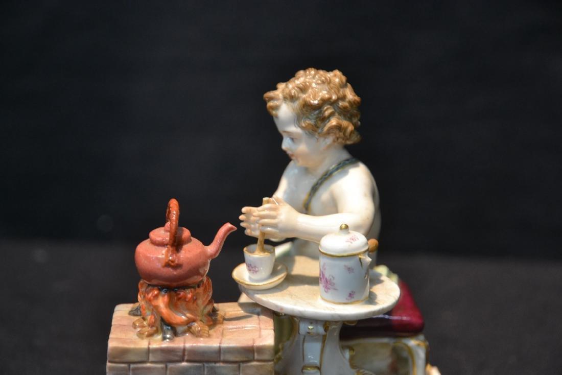 MEISSEN PUTTI WITH TEA POT ON STOVE - 5