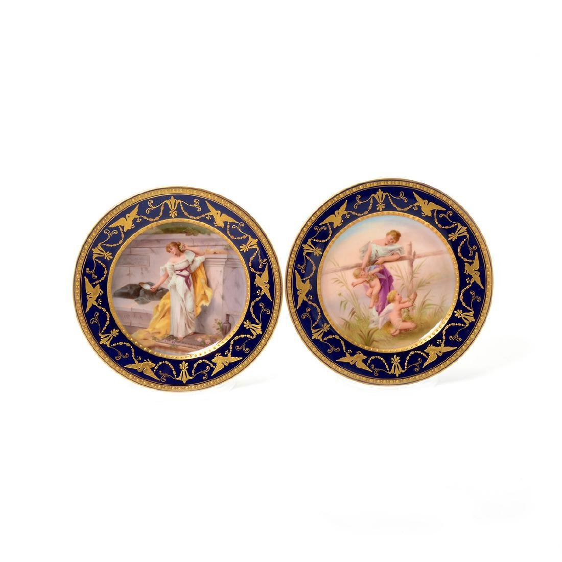 Six Vienna Style Porcelain and Gilt Cabinet Plates - 3