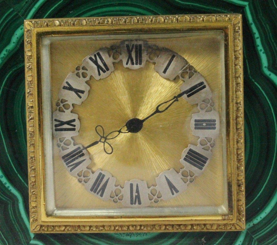 MALACHITE AND ORMOLU CLOCK ON SILVER - 2