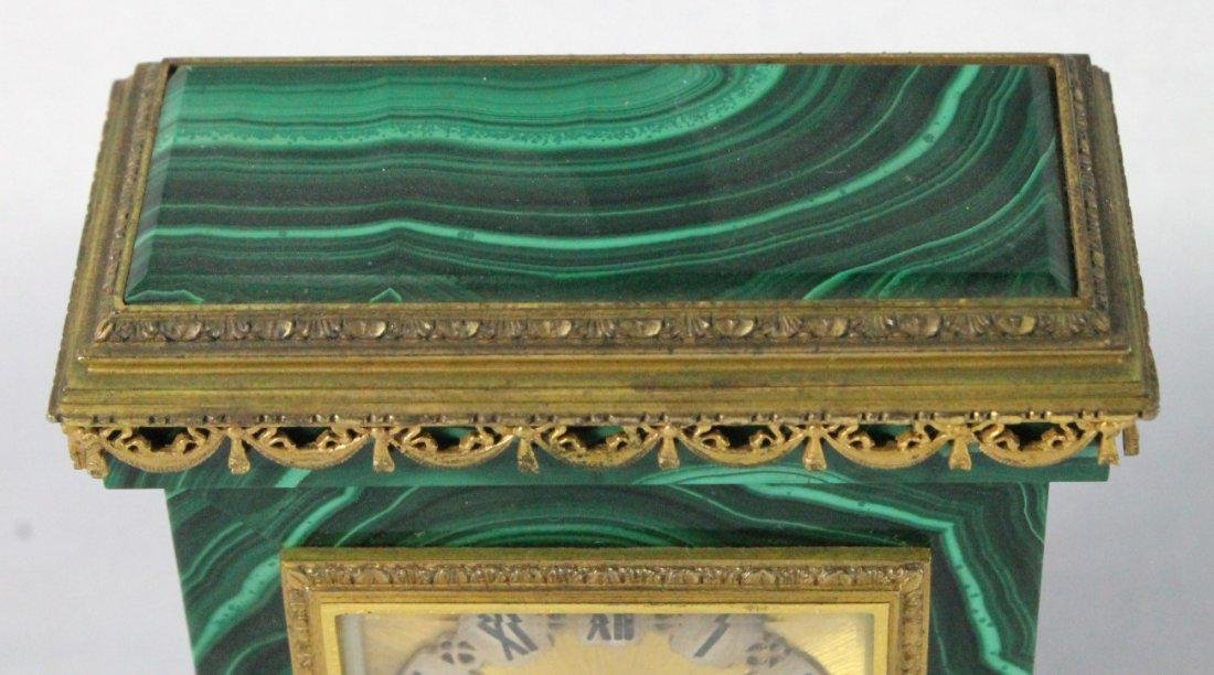 MALACHITE AND ORMOLU CLOCK ON SILVER - 3