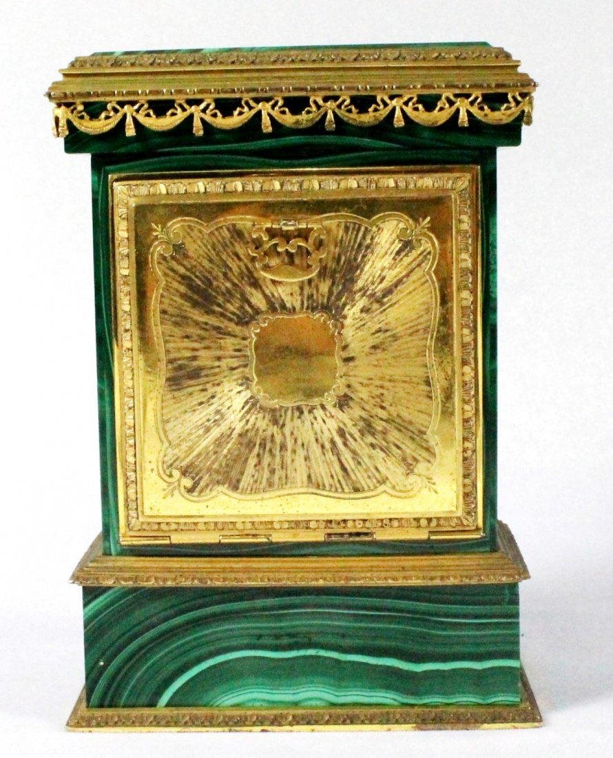 MALACHITE AND ORMOLU CLOCK ON SILVER - 4