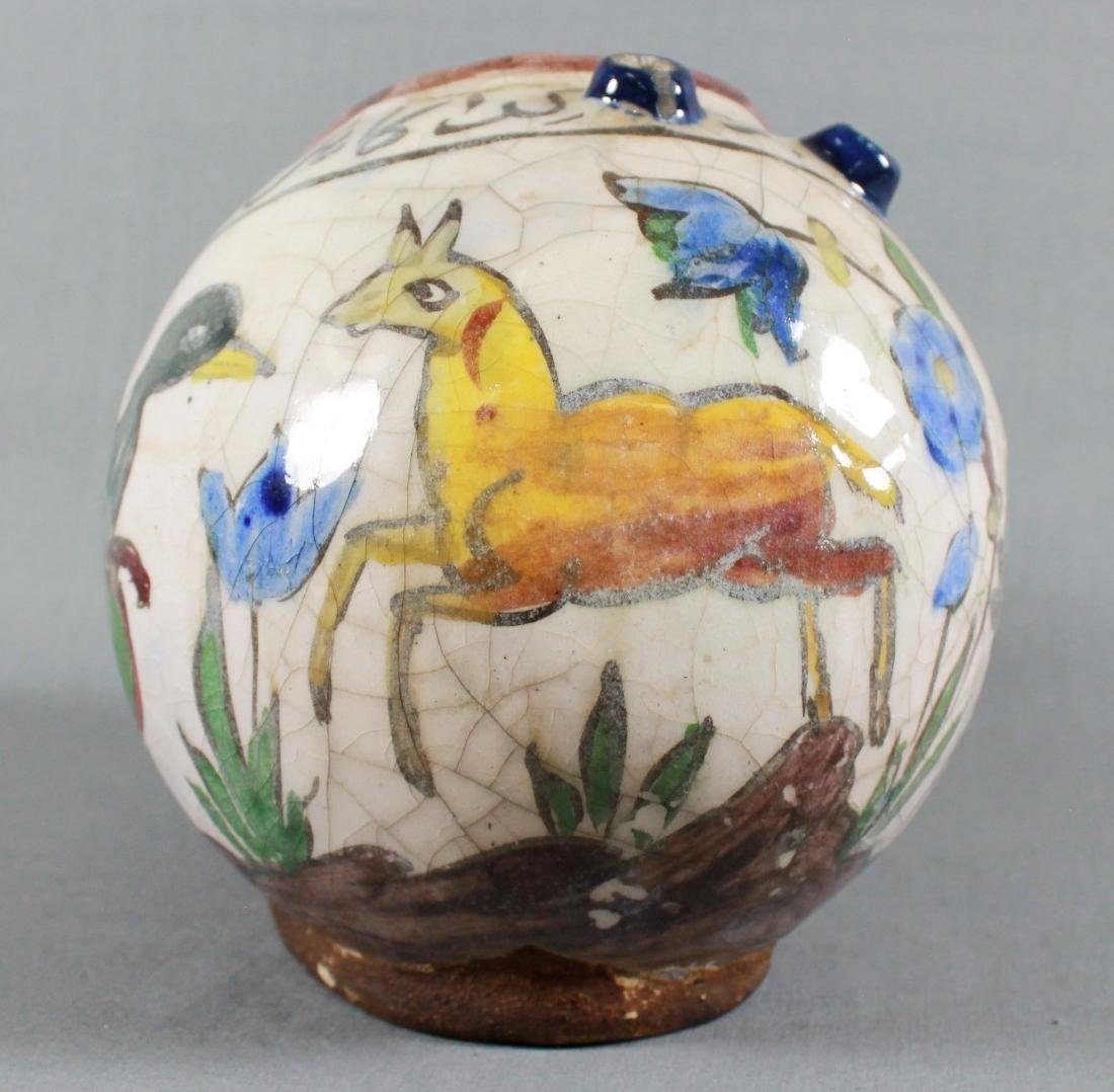Middle Eastern pottery vessel painted with lion and - 5