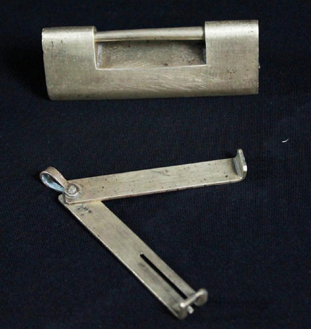 A QAJAR BRASS STEEL LOCK AND KEY 16TH-18TH C. - 3