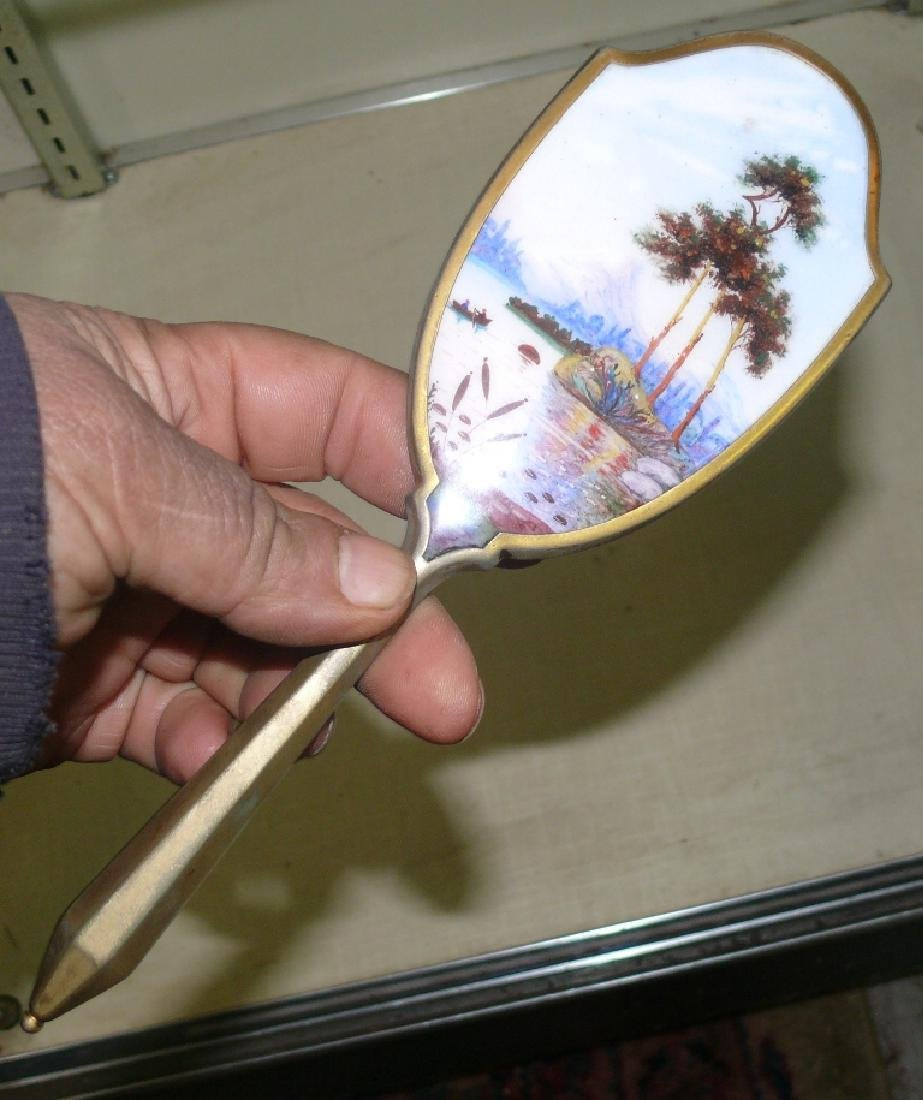 Enamel porcelain hand held oval mirror w/tropical