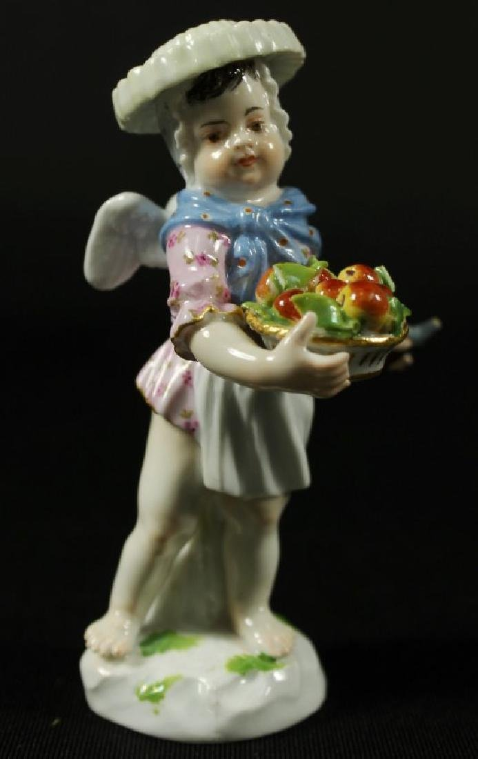 MEISSEN FIGURE WITH BASKET OF APPLES