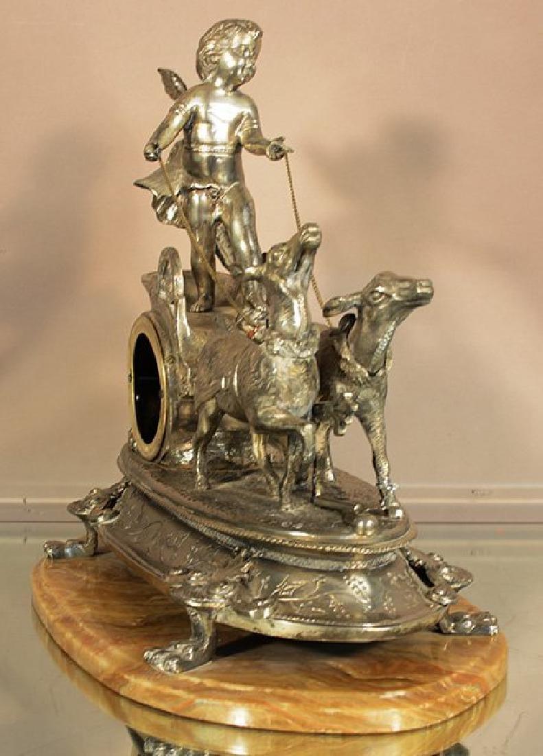 French XIV Style Figural Bronze Mantel Clock - 2