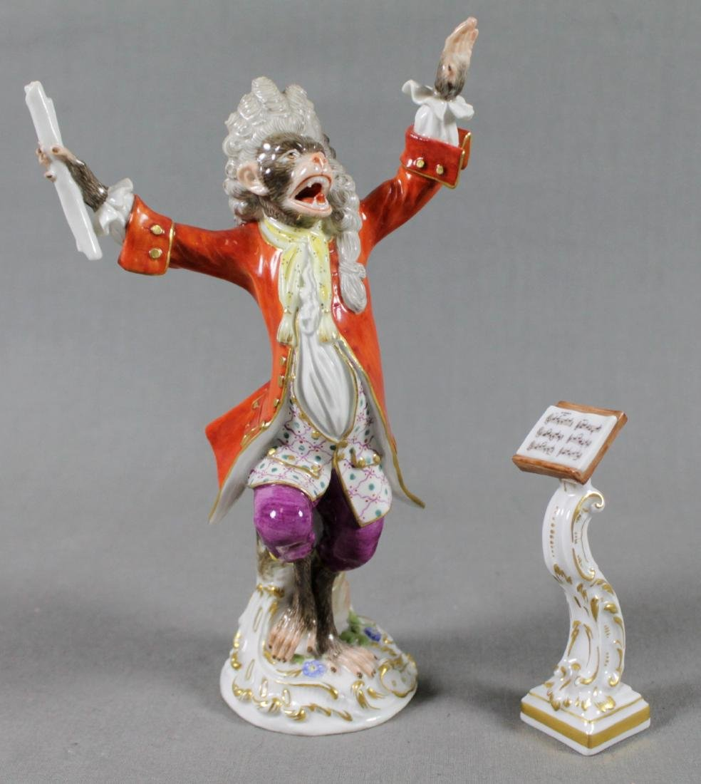 19TH C. MEISSEN MONKEY BAND CONDUCTOR W/ STAND