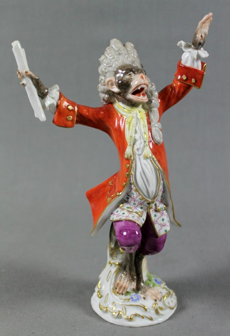 19TH C. MEISSEN MONKEY BAND CONDUCTOR W/ STAND - 2