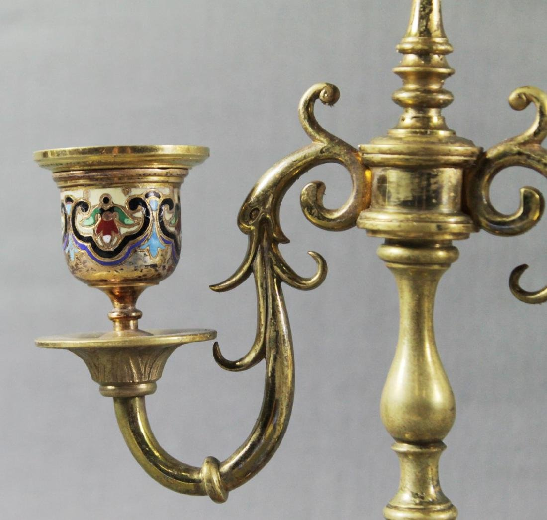 PAIR OF FRENCH CHAMPLEVE ENAMEL CANDELABRA - 4