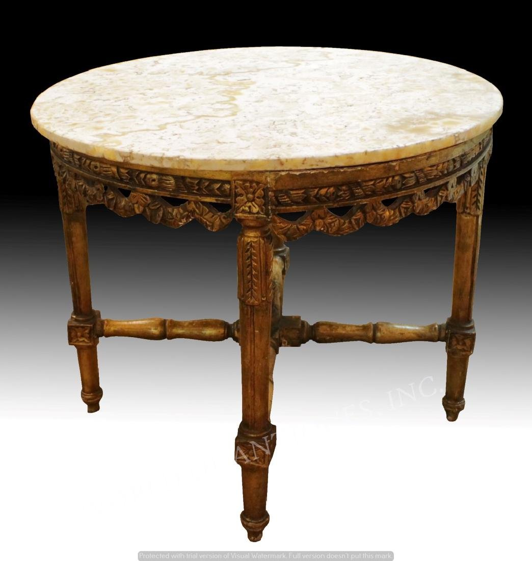 19TH C. MARBLE TOP AND CARVED WOOD TABLE