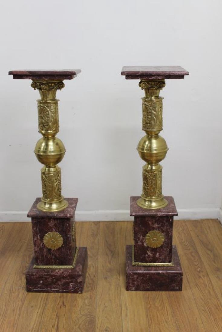 Pair Marble & Bronze Pedestals with Bronze Ormolu