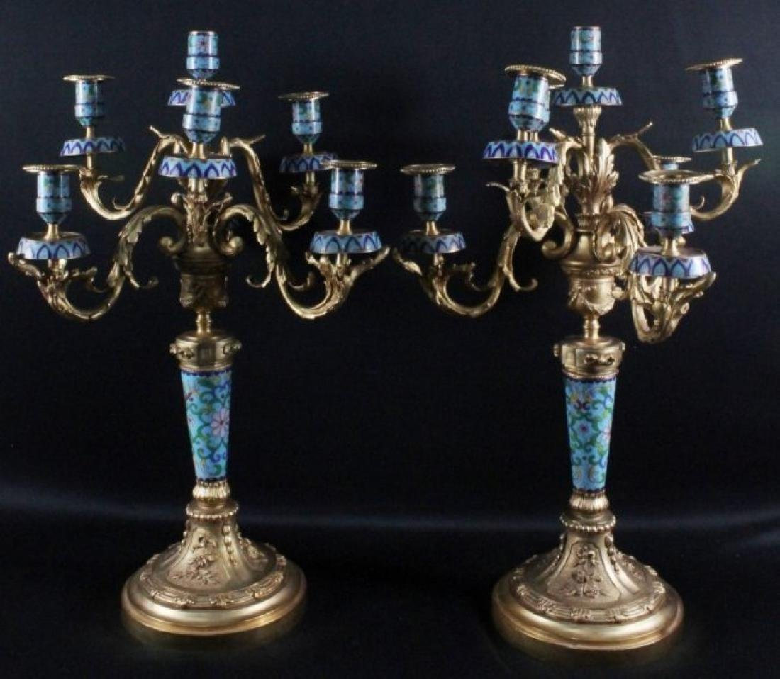 PAIR OF CHINESE ENAMEL CANDELABRAS