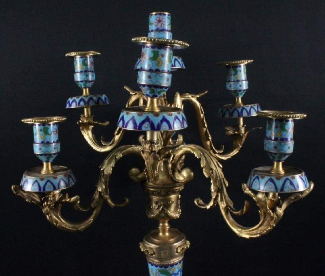 PAIR OF CHINESE ENAMEL CANDELABRAS - 2