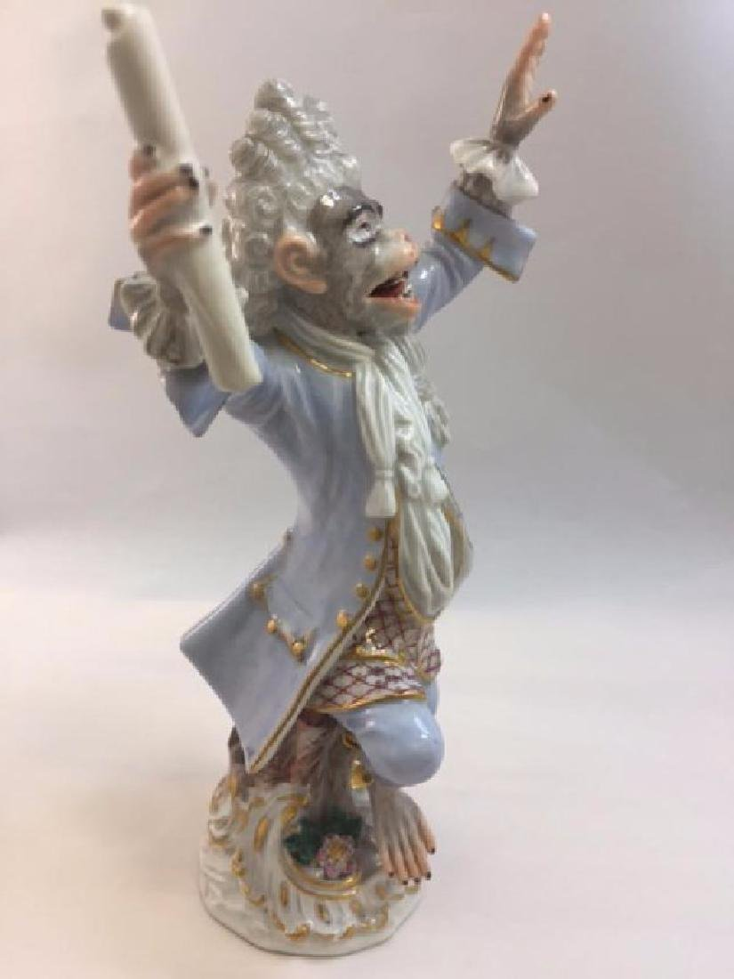 19th Century Meissen Monkey Band figure of Coznductor - 4