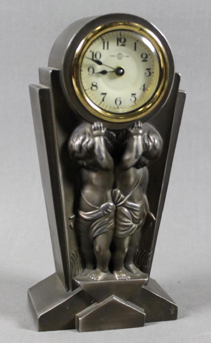 BRONZE ART DECO TABLE CLOCK