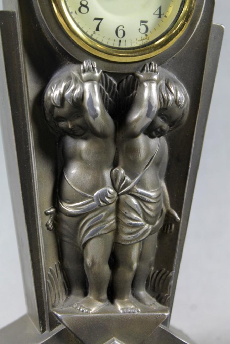 BRONZE ART DECO TABLE CLOCK - 3
