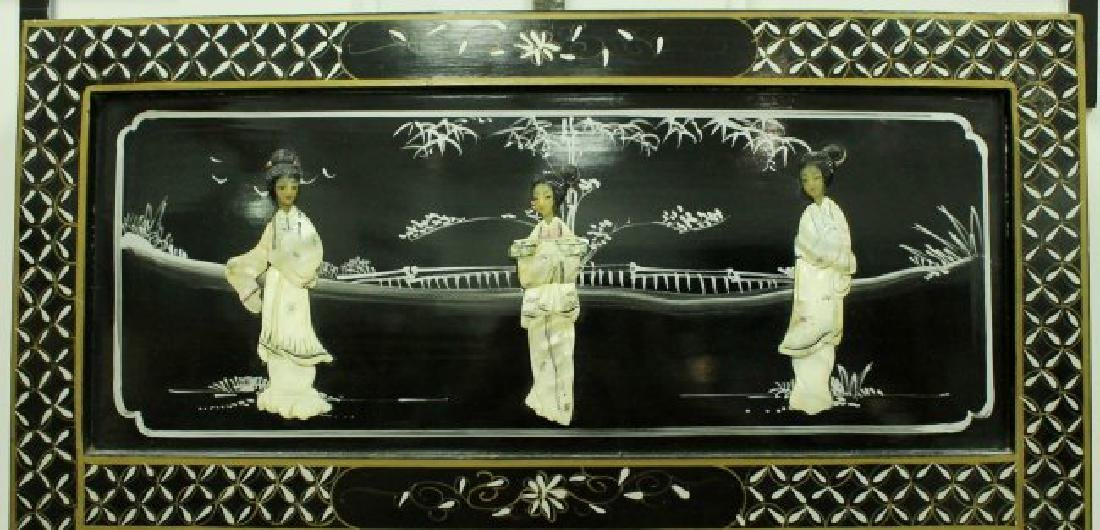 SET OF INLAID CHINESE MIRROR AND TABLE - 2