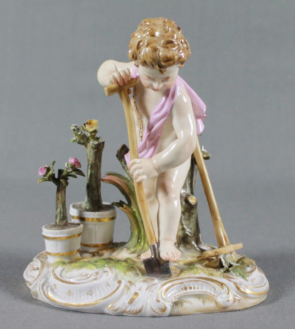 MEISSEN SAXONY PORCELAIN FIGURE OF PUTTI WORKING IN THE