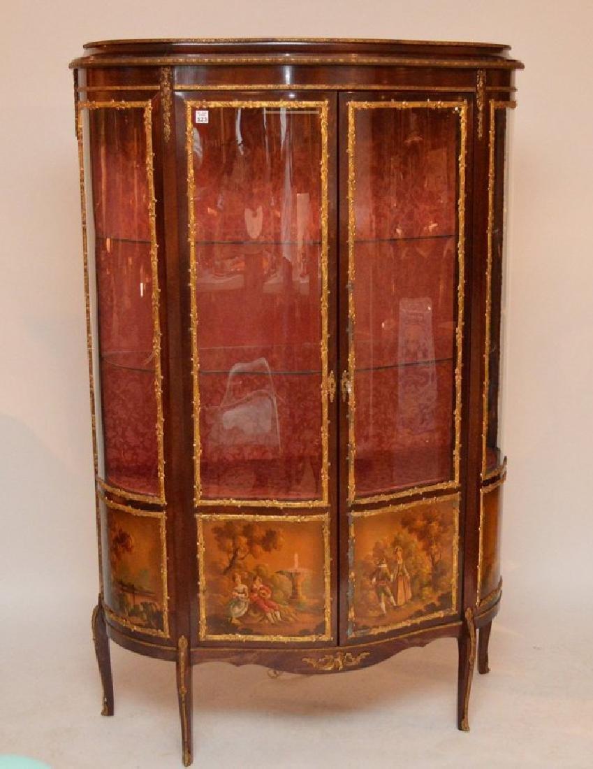 French style Verni Martin vitrine, bowed glass doors - 2