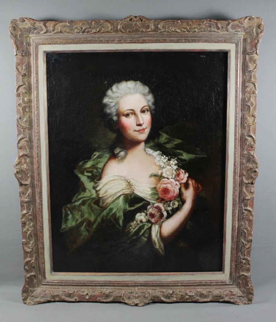 FRAMED OIL ON CANVAS  OF WOMAN W/ FLOWERS