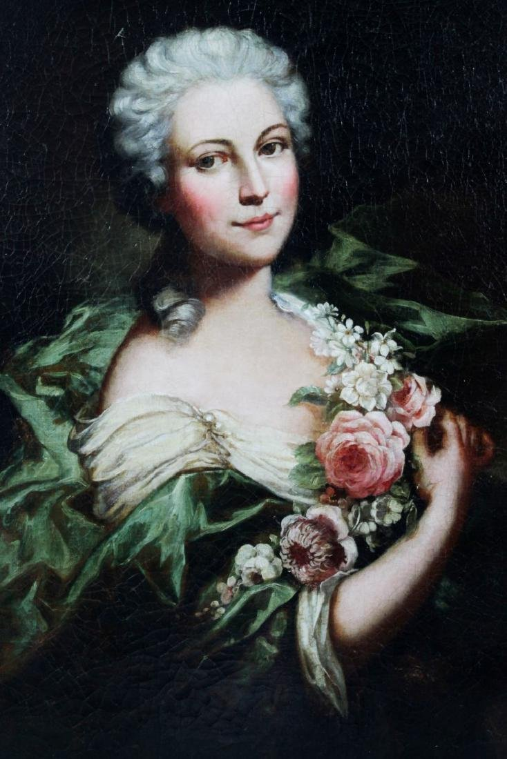 FRAMED OIL ON CANVAS  OF WOMAN W/ FLOWERS - 2