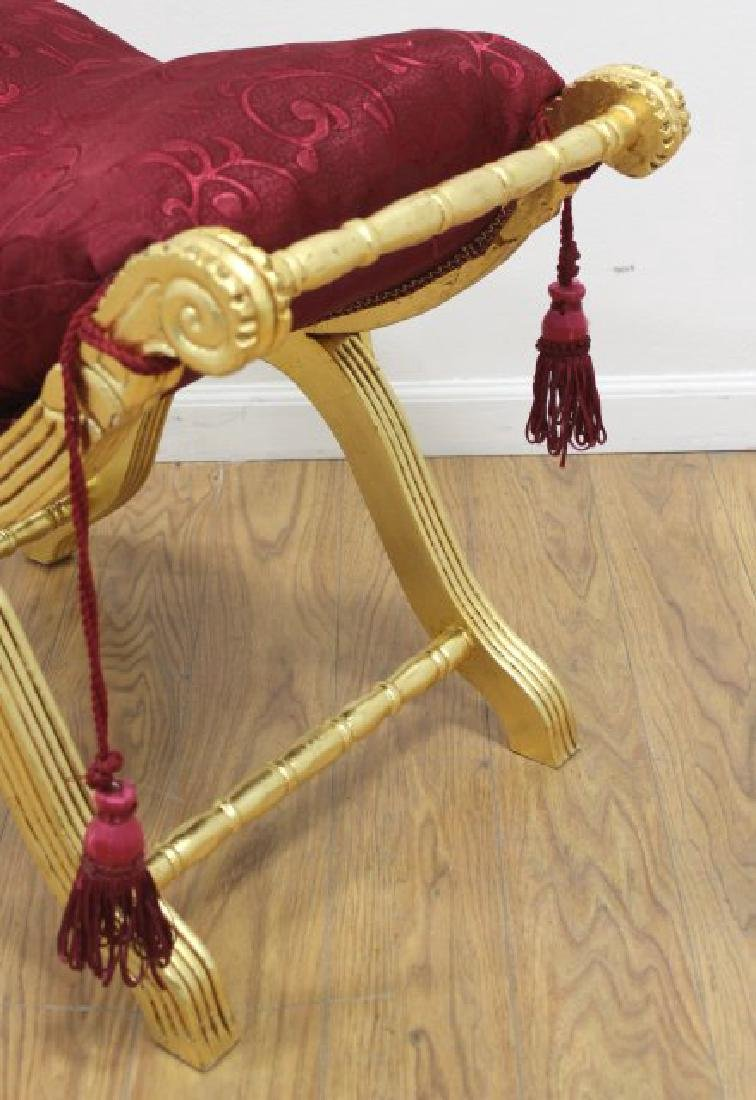 Contemporary Gold-Painted Tassel Upholstered Bench - 2