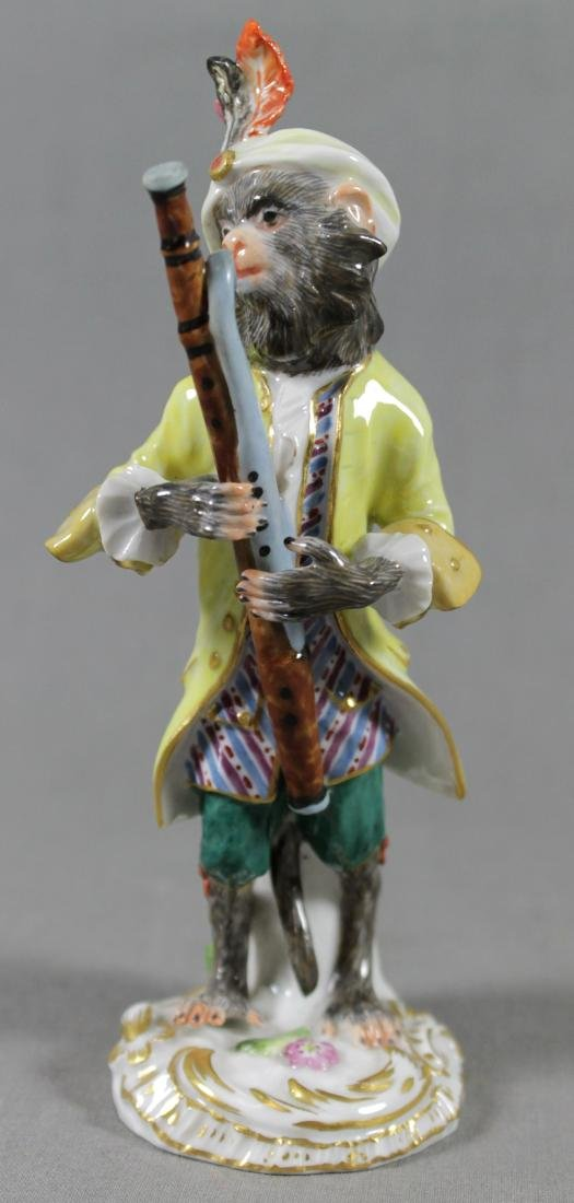 19TH C. MEISSEN MONKEY BAND FIGURE OF BASSOON PLAYER