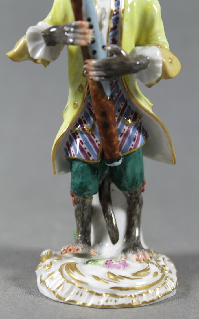 19TH C. MEISSEN MONKEY BAND FIGURE OF BASSOON PLAYER - 3