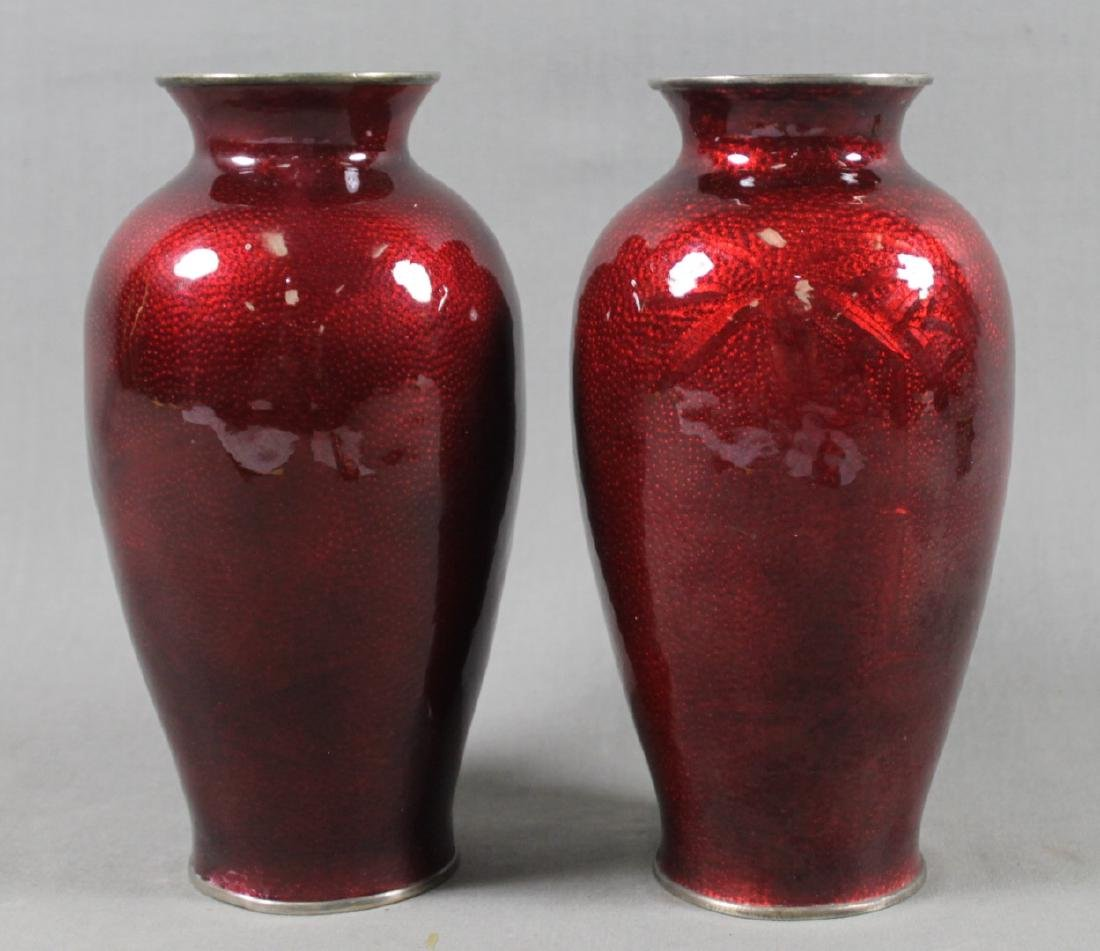 PAIR OF RED CLOISONNE VASES