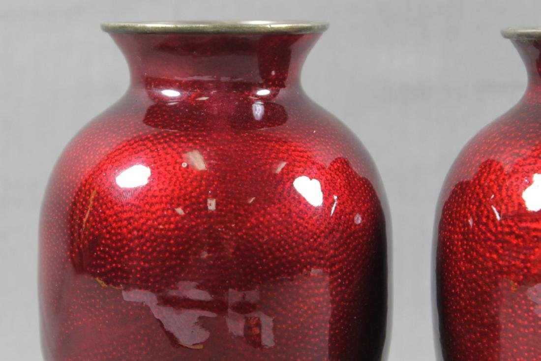 PAIR OF RED CLOISONNE VASES - 2