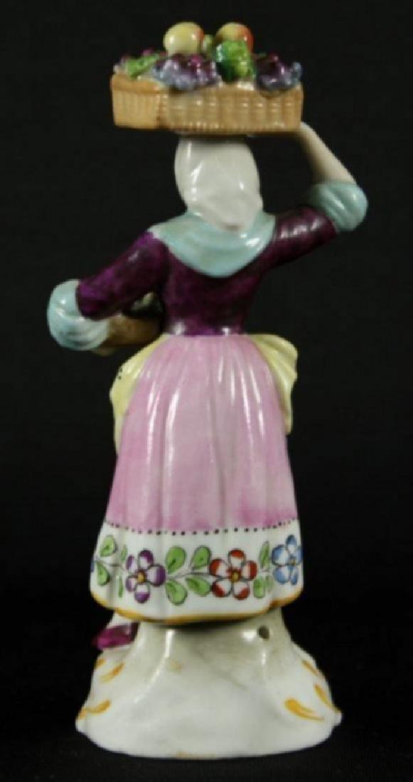 DRESDEN FIGURE OF WOMAN WITH BASKET OF FRUIT - 2