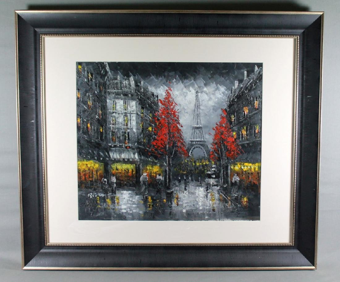 "FRAMED OIL ON BOARD ""PARIS SCENE"" SIGNED"