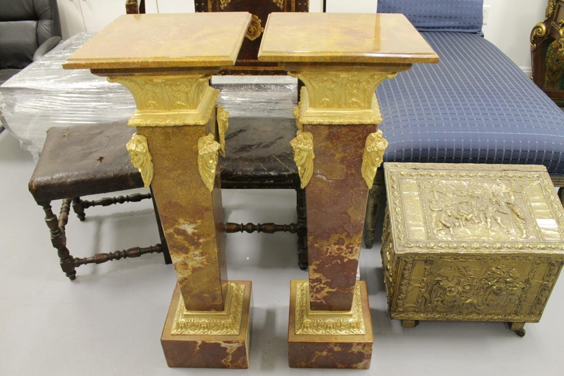PAIR OF GILT BRONZE AND ROUGE MARBLE PEDESTALS