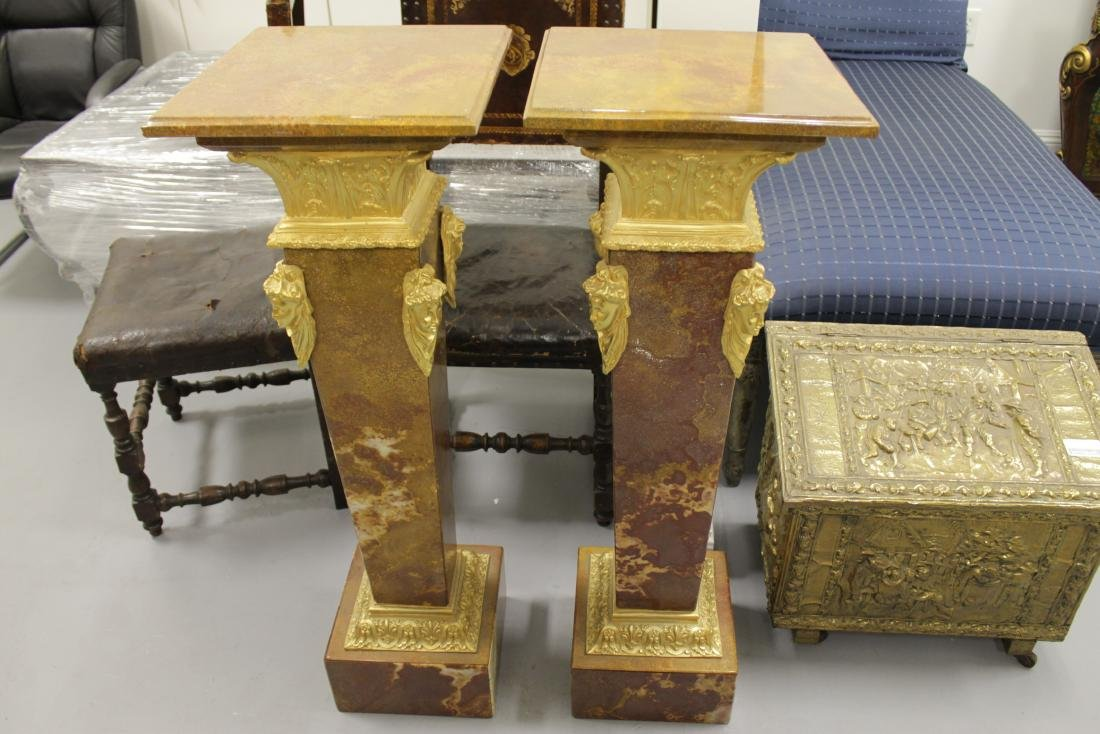 PAIR OF GILT BRONZE AND ROUGE MARBLE PEDESTALS - 2