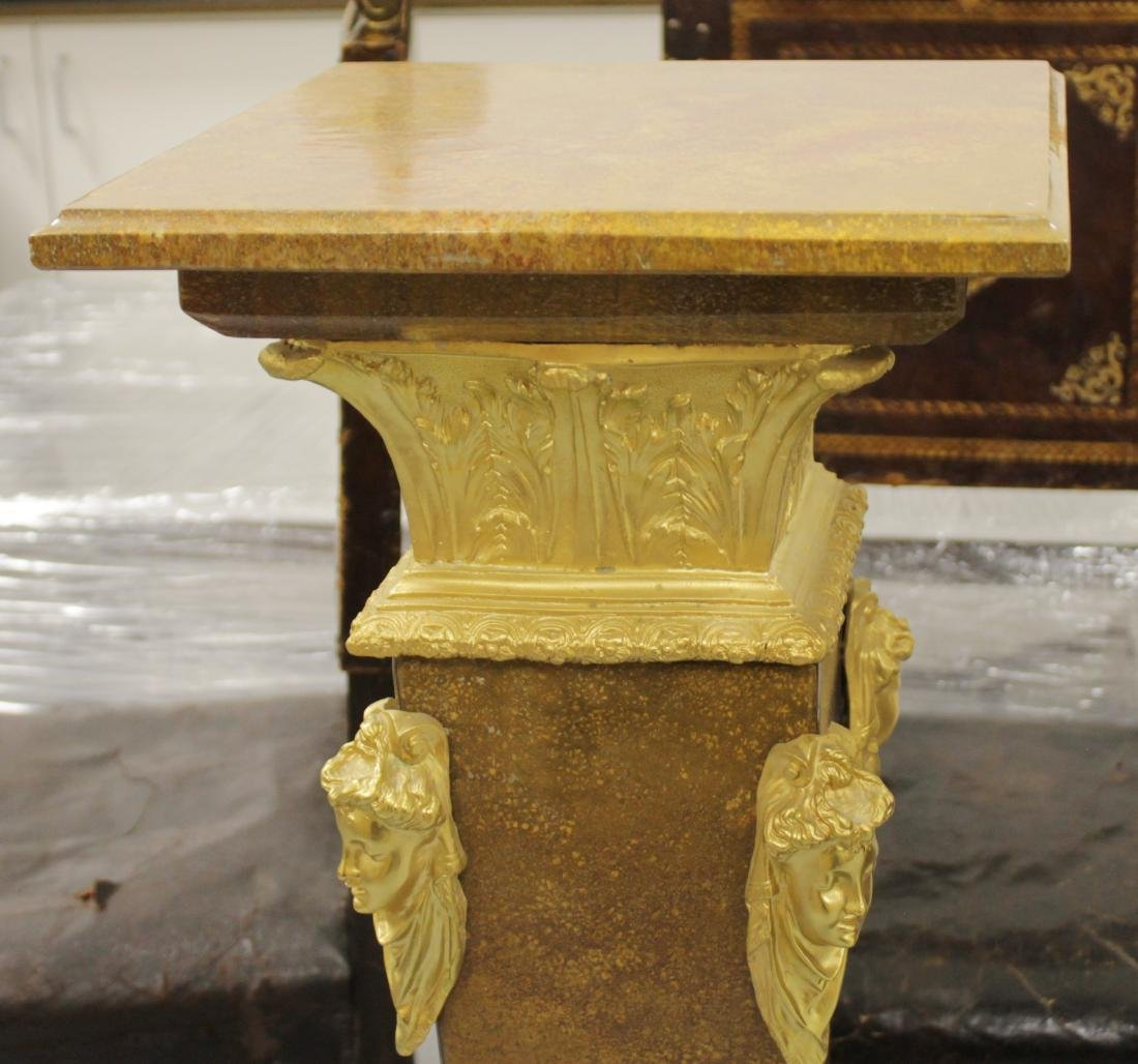 PAIR OF GILT BRONZE AND ROUGE MARBLE PEDESTALS - 3