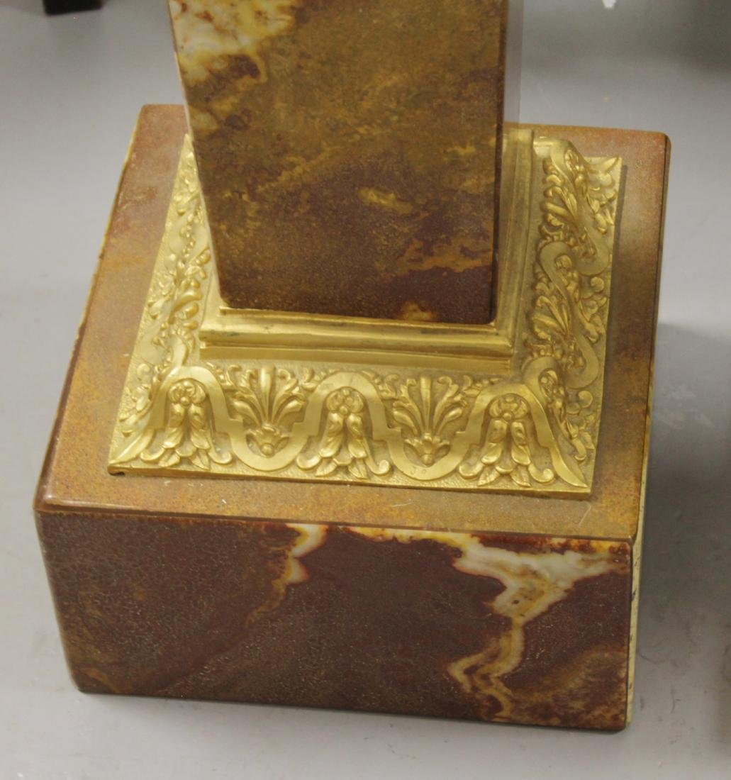 PAIR OF GILT BRONZE AND ROUGE MARBLE PEDESTALS - 5