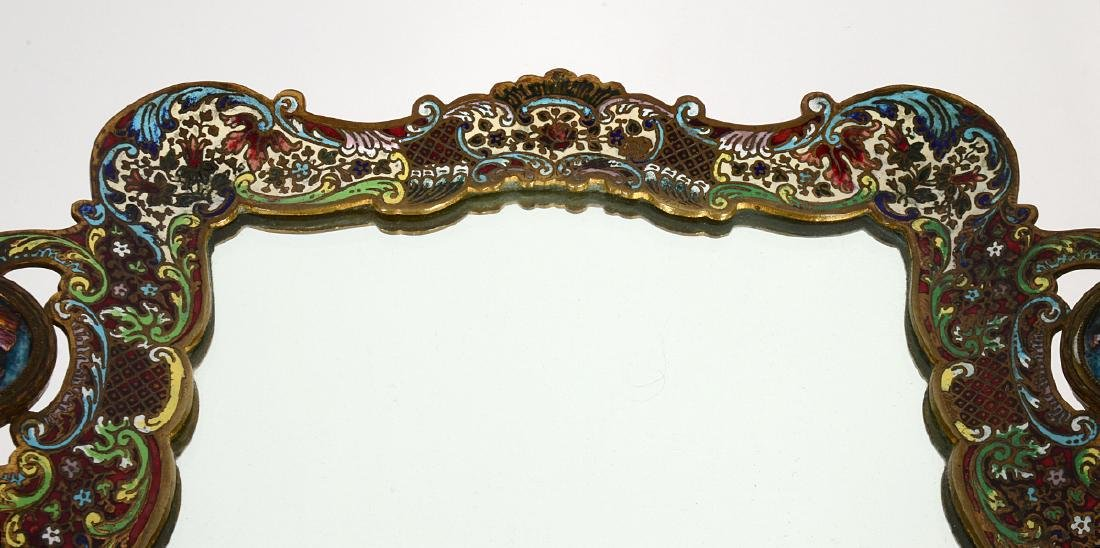 FRENCH CHAMPLEVE ENAMEL AND BRONZE DRESSING TRAY - 4
