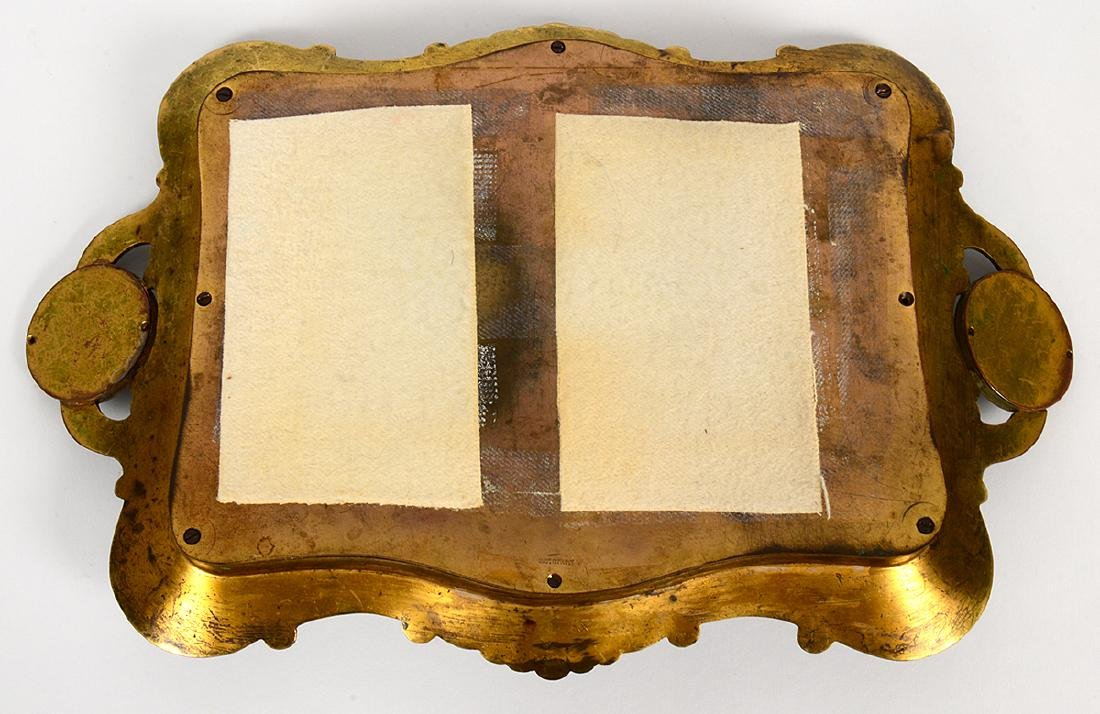 FRENCH CHAMPLEVE ENAMEL AND BRONZE DRESSING TRAY - 5