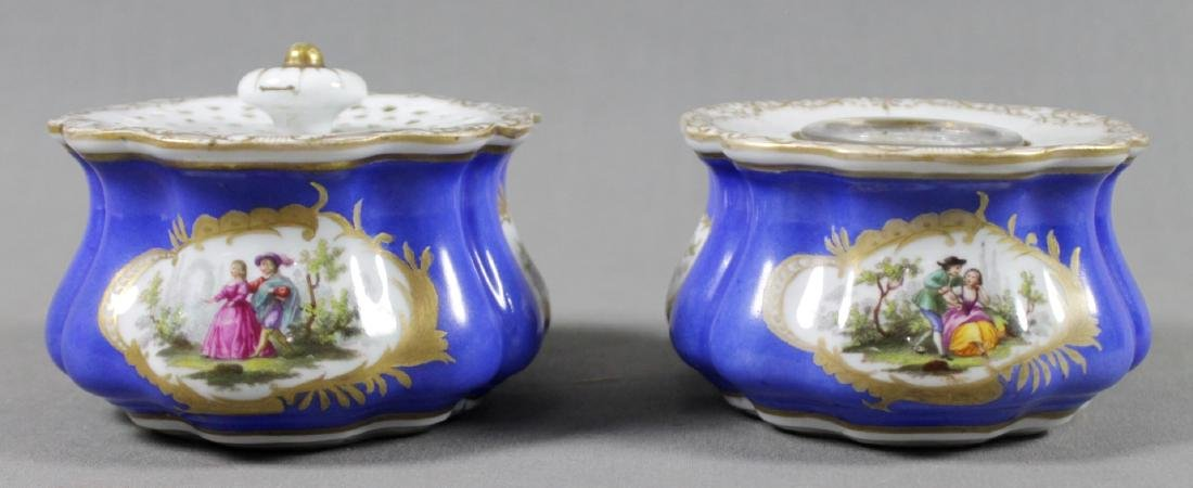 PAIR OF MEISSEN PORCELAIN DESK PIECES