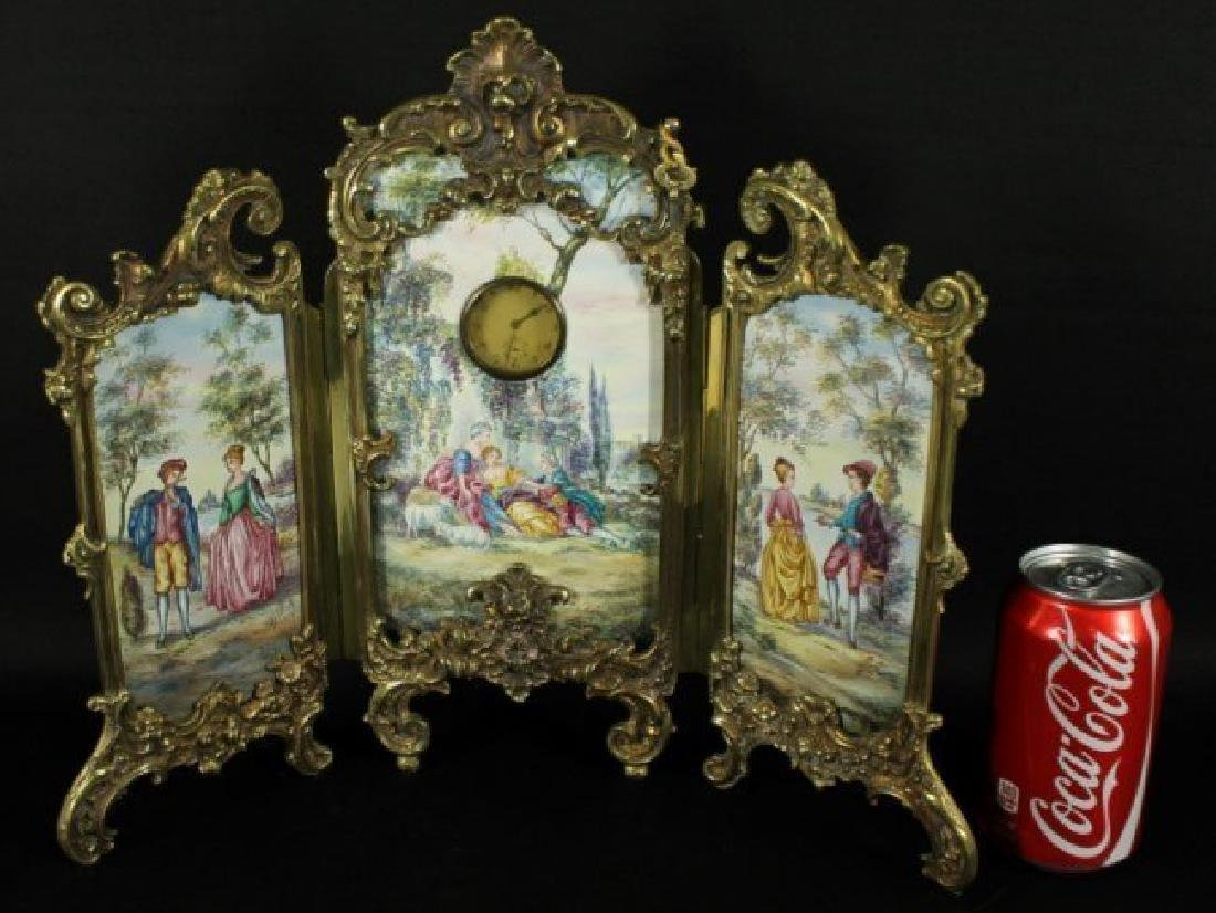 Large Viennese Enamel Screen With Clock - 2