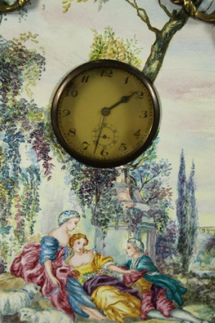 Large Viennese Enamel Screen With Clock - 3