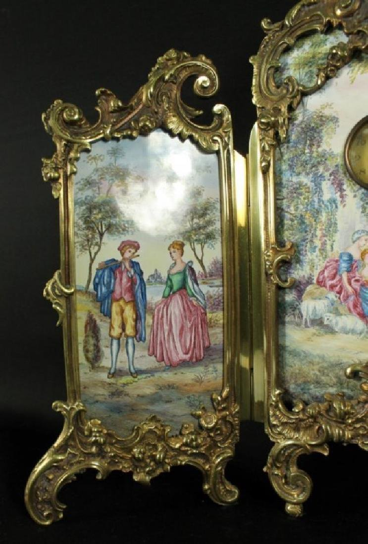 Large Viennese Enamel Screen With Clock - 4