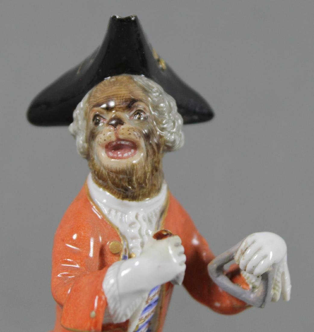 19TH C. MEISSEN MONKEY BAND FIGURE OF TRIANGLE PLAYER - 2